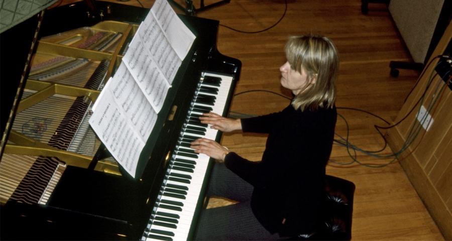 Anne Dudley recording piano