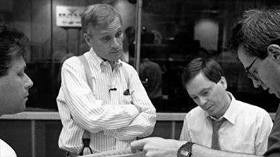Howard Ashman y Alan Menken en los ensayos
